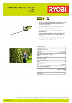 RYOBI RHT1850H 18V Hybridní plotostřih, délka lišty 50cm 5133003657 A4 PDF