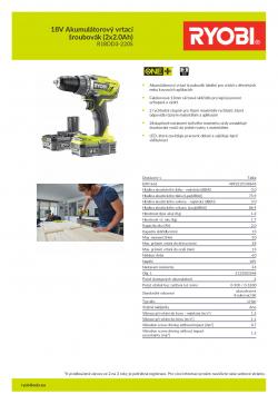 RYOBI R18DD3 18V Akumulátorový vrtací šroubovák (2x2.0Ah) 5133003348 A4 PDF