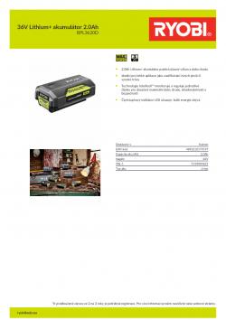 RYOBI BPL3620D 36V Lithium+ akumulátor 2.0Ah 5133004621 A4 PDF