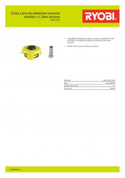 RYOBI RAC118 Cívka a kryt do elektrické strunové sekačky s 1.2mm strunou 5132002590 A4 PDF