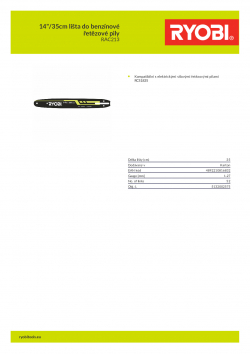 """RYOBI RAC213 14""""/35cm lišta do benzínové řetězové pily 5132002575 A4 PDF"""