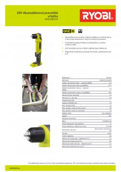 RYOBI RAD1801 18V Akumulátorová pravoúhlá vrtačka 5133001166 A4 PDF