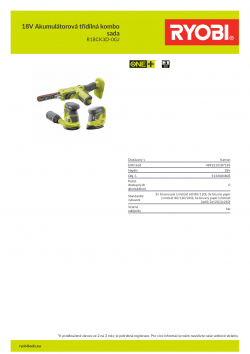 RYOBI R18CK3D-0GJ 18V Akumulátorová třídílná kombo sada 5133004805 A4 PDF
