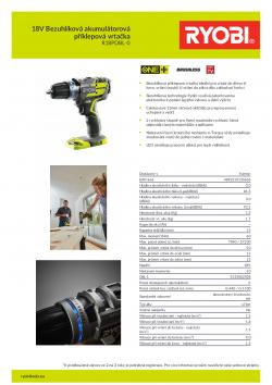 RYOBI R18PDBL 18V Bezuhlíková akumulátorová příklepová vrtačka 5133002438 A4 PDF
