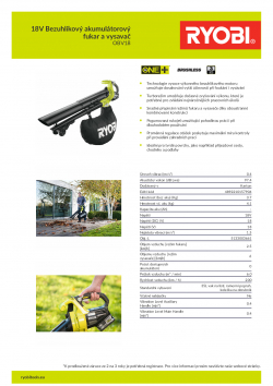 RYOBI OBV18 18V Bezuhlíkový akumulátorový fukar a vysavač 5133003661 A4 PDF