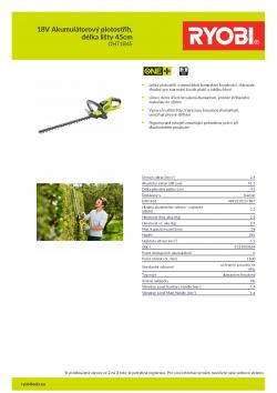 RYOBI RHT1845 18V Akumulátorový plotostřih, délka lišty 45cm 5133003654 A4 PDF