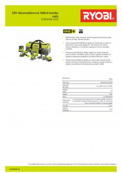 RYOBI R18CK4B 18V Akumulátorová 4dílná kombo sada 5133003620 A4 PDF