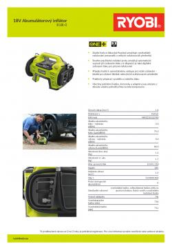 RYOBI R18I 18V Akumulátorový inflátor 5133001834 A4 PDF