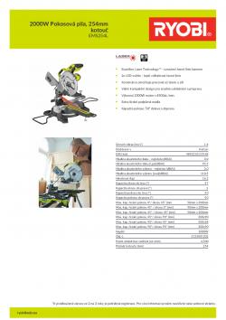 RYOBI EMS254L 2000W Pokosová pila, 254mm kotouč 5133001202 A4 PDF