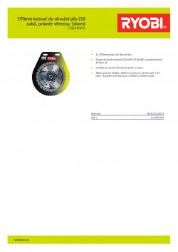 RYOBI CSB190A1 190mm kotouč do okružní pily (18 zubů, průměr vřetena: 16mm) 5132002580 A4 PDF