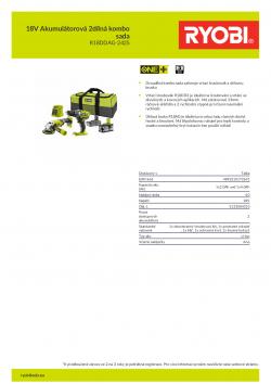RYOBI R18DDAG-242S 18V Akumulátorová 2dílná kombo sada 5133004310 A4 PDF