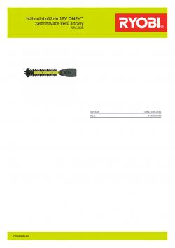 RYOBI RAC308 Náhradní nůž do 18V ONE+™ zastřihávače keřů a trávy 5132002457 A4 PDF