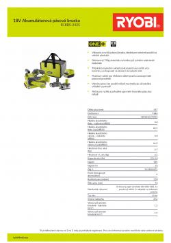RYOBI R18BS 18V Akumulátorová pásová bruska 5133004471 A4 PDF
