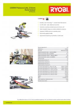 RYOBI EMS216L 1500W Pokosová pila, 216mm řezný kotouč 5133001197 A4 PDF