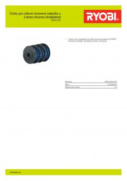RYOBI RAC123 Cívky pro síťové strunové sekačky s 1.6mm strunou (trojbalení) 5132002671 A4 PDF