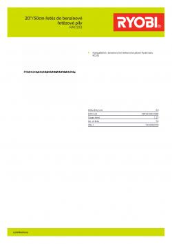 """RYOBI RAC232 20""""/50cm řetěz do benzínové řetězové pily 5132002478 A4 PDF"""