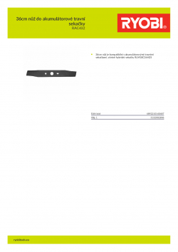 RYOBI RAC432 36cm nůž do akumulátorové travní sekačky 5132002806 A4 PDF