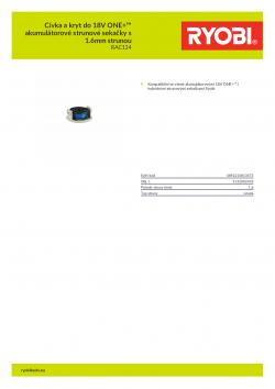RYOBI RAC124 Cívka a kryt do 18V ONE+™ akumulátorové strunové sekačky s 1.6mm strunou 5132002433 A4 PDF