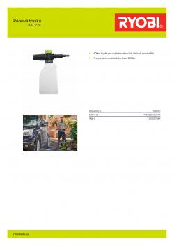 RYOBI RAC726 Pěnová tryska 5132003864 A4 PDF