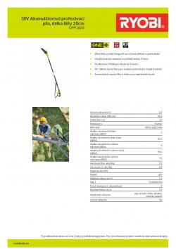 RYOBI RPP1820 18V Akumulátorová prořezávací pila, délka lišty 20cm 5133001250 A4 PDF
