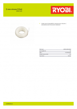 RYOBI RAC102 2 mm struna (15m) 5132002639 A4 PDF