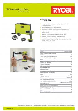 RYOBI R12SD 12V šroubovák (2x1.3Ah) 5133002323 A4 PDF