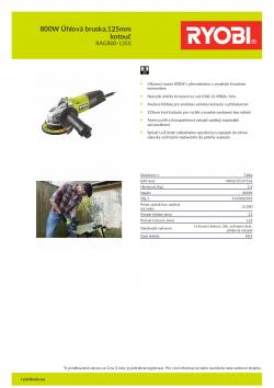RYOBI RAG800 800W Úhlová bruska,125mm kotouč 5133002493 A4 PDF