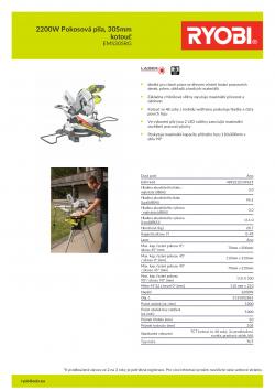 RYOBI EMS305RG 2200W Pokosová pila, 305mm kotouč 5133002861 A4 PDF