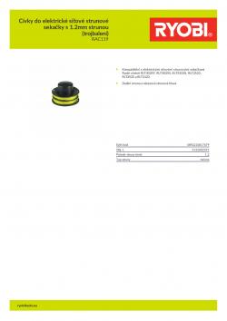 RYOBI RAC119 Cívky do elektrické síťové strunové sekačky s 1.2mm strunou (trojbalení) 5132002591 A4 PDF