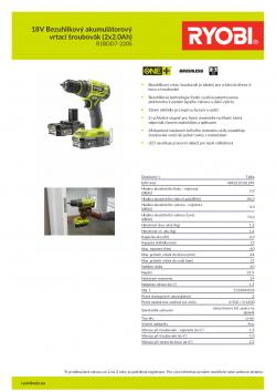 RYOBI R18DD7 18V Bezuhlíkový akumulátorový vrtací šroubovák (2x2.0Ah) 5133004533 A4 PDF