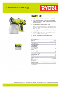 RYOBI P620 18V Akumulátorová stříkací pistole 5133000155 A4 PDF