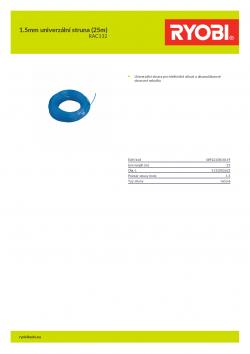 RYOBI RAC132 1.5mm univerzální struna (25m) 5132002625 A4 PDF