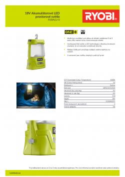 RYOBI R18ALU 18V Akumulátorové LED prostorové světlo 5133003371 A4 PDF