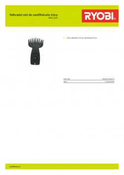 RYOBI RAC314 Náhradní nůž do zastřihávače trávy 5132003309 A4 PDF