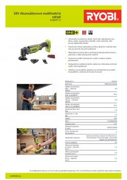 RYOBI R18MT 18V Akumulátorové multifunkční nářadí 5133002466 A4 PDF