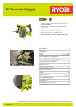 RYOBI R18DA 18V Akumulátorový čistič odpadu 5133004642 A4 PDF