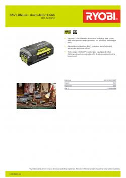 RYOBI BPL3626D2 36V Lithium+ akumulátor 2.6Ah 5133004386 A4 PDF