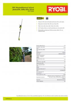 RYOBI RPT1845 18V Akumulátorový tyčový plotostřih, délka lišty 45cm 5133002523 A4 PDF