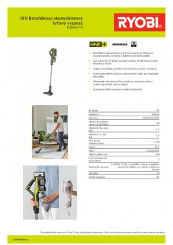 RYOBI R18SV7 18V Bezuhlíkový akumulátorový tyčový vysavač 5133004487 A4 PDF