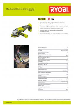 RYOBI R18AG 18V Akumulátorová úhlová bruska 5133001903 A4 PDF