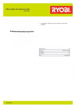 RYOBI RAC250 40cm řetěz do řetězové pily 5132002785 A4 PDF