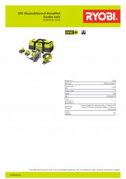 RYOBI R18JSCS-125S 18V Akumulátorová dvoudílná kombo sada 5133004770 A4 PDF