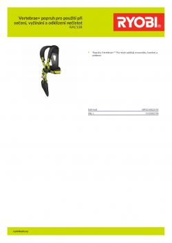 RYOBI RAC138 Vertebrae+ popruh pro použití při sečení, vyžínání a odklízení nečistot 5132002706 A4 PDF