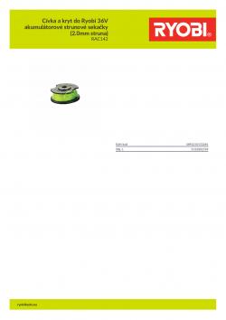 RYOBI RAC142 Cívka a kryt do Ryobi 36V akumulátorové strunové sekačky (2.0mm struna) 5132002769 A4 PDF