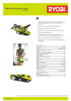 RYOBI EBS800 800W Pásová bruska 76mm 5133001148 A4 PDF