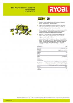 RYOBI R18CK4E-242S 18V Akumulátorová čtyřdílná kombo sada 5133004757 A4 PDF