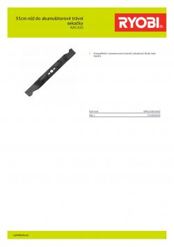 RYOBI RAC410 51cm nůž do akumulátorové trávní sekačky 5132002633 A4 PDF