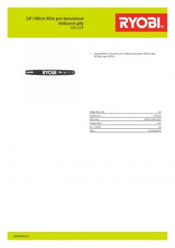 """RYOBI RAC229 16""""/40cm lišta pro benzínové řetězové pily 5132002475 A4 PDF"""