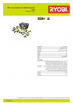 RYOBI R18CK8 18V Akumulátorová 8dílná kombo sada 5133004827 A4 PDF