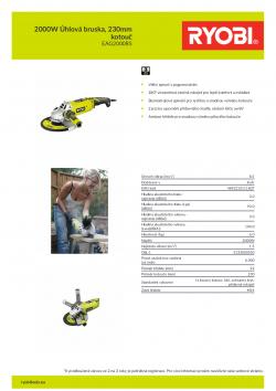 RYOBI EAG2000 2000W Úhlová bruska, 230mm kotouč 5133000550 A4 PDF